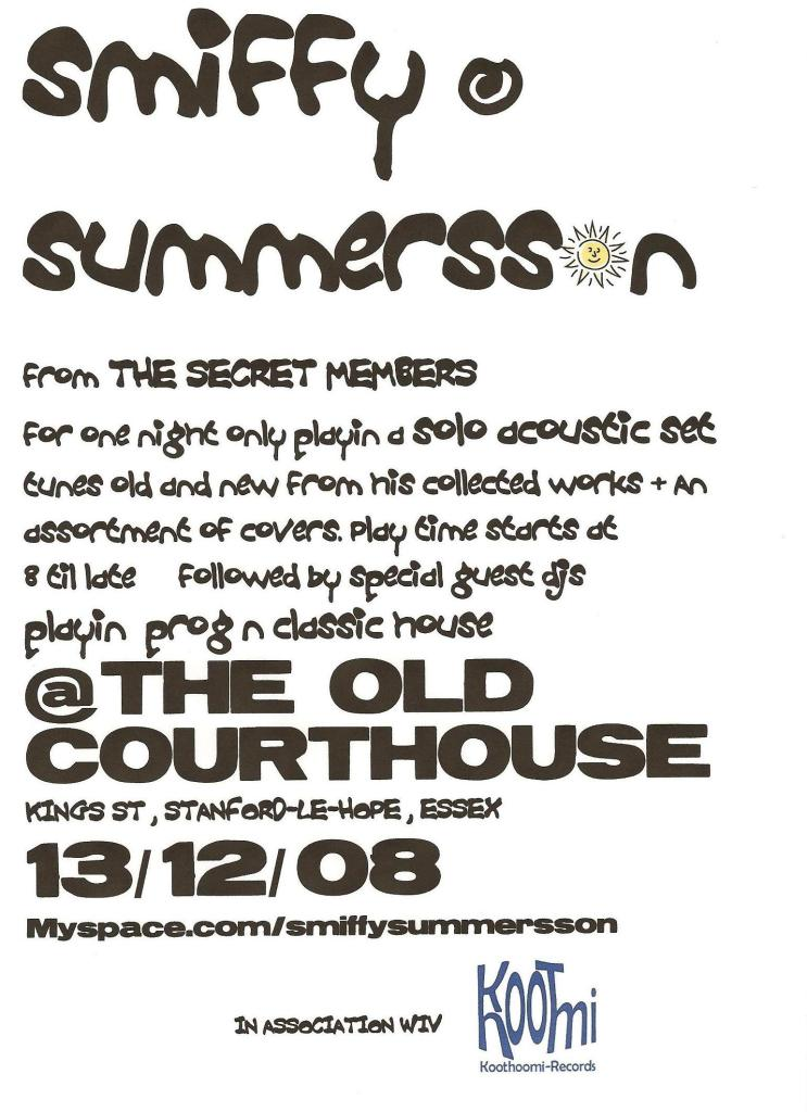 Smiffy Summer Son at The Old Courthouse, in association with Koothoomi Records